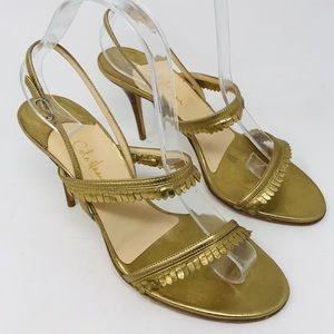 Cole Haan Collection Gold Heels Open Toe Sandals